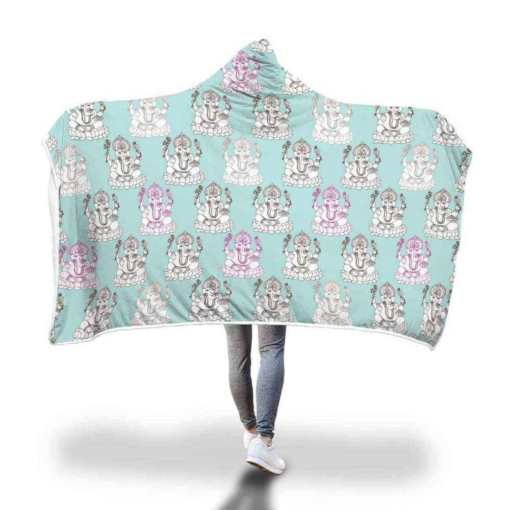 Ganesha Design Ganesh Hindu / Buddhist Repeated Pattern Hooded Snuggle Meditation Blanket - Hooded Blanket