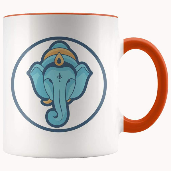 Ganesha Hindu Buddhist Spiritual Symbol 11Oz. Ceramic White Mug - Orange - Drinkware