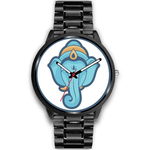 Ganesha Hindu Elephant Head God Symbol Custom-Designed Wrist Watch - Mens 40Mm / Black Metal Link - Black Watch