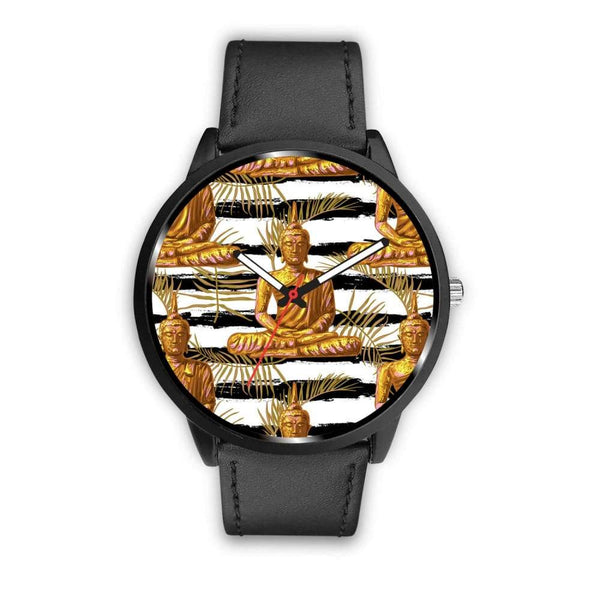 Golden Buddha Pattern Buddhist Design Custom-Designed Wrist Watch - Mens 40Mm / Black - Watch