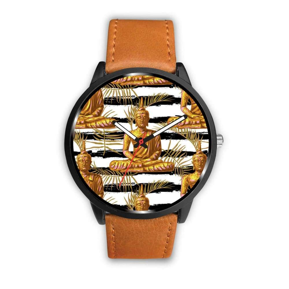 Golden Buddha Pattern Buddhist Design Custom-Designed Wrist Watch - Mens 40Mm / Brown - Watch
