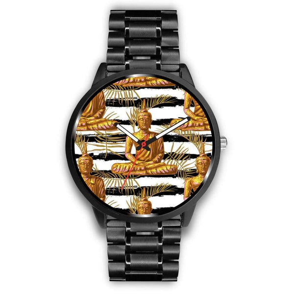 Golden Buddha Pattern Buddhist Design Custom-Designed Wrist Watch - Mens 40Mm / Metal Link - Watch
