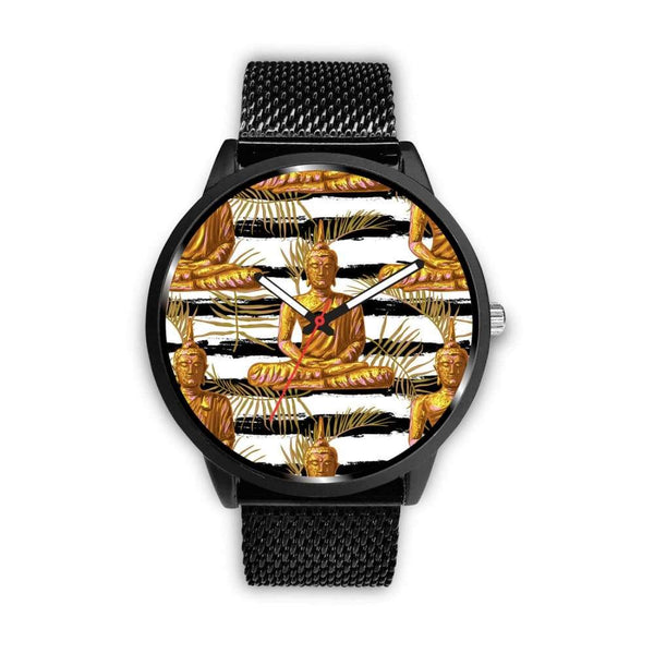Golden Buddha Pattern Buddhist Design Custom-Designed Wrist Watch - Mens 40Mm / Metal Mesh - Watch