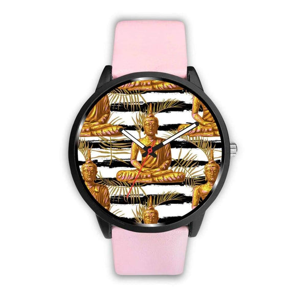 Golden Buddha Pattern Buddhist Design Custom-Designed Wrist Watch - Mens 40Mm / Pink - Watch