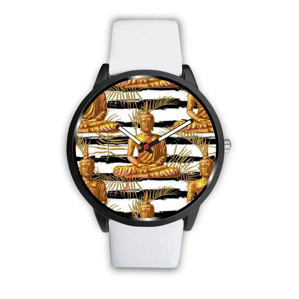 Golden Buddha Pattern Buddhist Design Custom-Designed Wrist Watch - Mens 40Mm / White - Watch