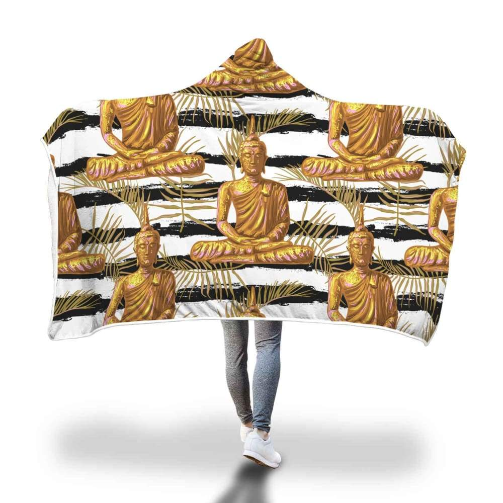 Golden Buddha Pattern Buddhist Design Hooded Snuggle Meditation Blanket - Hooded Blanket