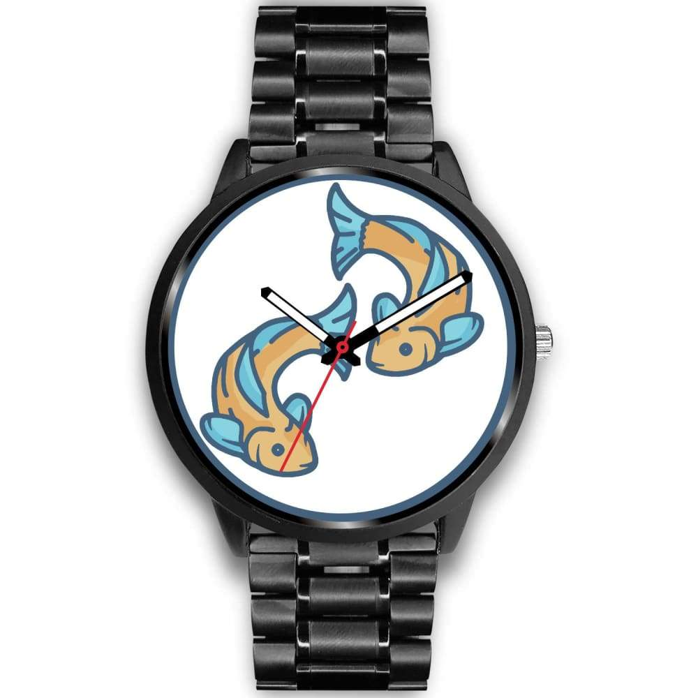 Golden Fish Buddhist Symbol Custom-Designed Wrist Watch - Mens 40Mm / Black Metal Link - Black Watch