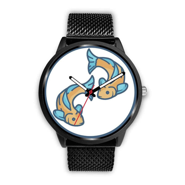 Golden Fish Buddhist Symbol Custom-Designed Wrist Watch - Mens 40Mm / Black Metal Mesh - Black Watch