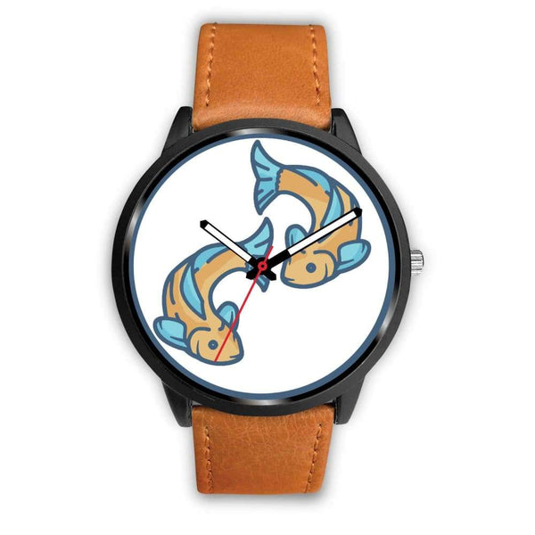 Golden Fish Buddhist Symbol Custom-Designed Wrist Watch - Mens 40Mm / Brown Leather - Black Watch