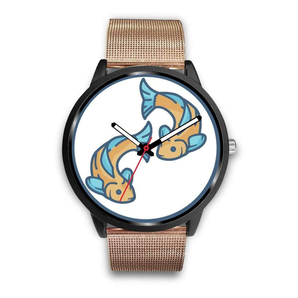 Golden Fish Buddhist Symbol Custom-Designed Wrist Watch - Mens 40Mm / Rose Gold Metal Mesh - Black Watch