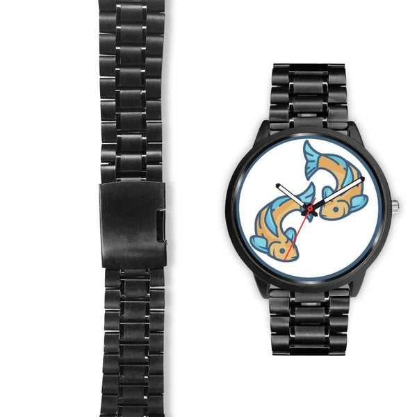Golden Fish Buddhist Symbol Custom-Designed Wrist Watch - Black Watch