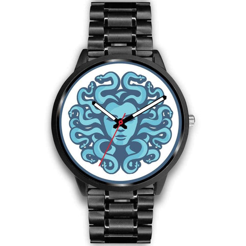 Gorgons Medusa Ancient Greek Symbol Custom-Designed Wrist Watch - Mens 40Mm / Black Metal Link - Black Watch