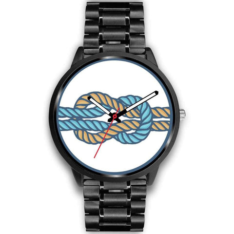 Hercules Knot Love Knot Greek Wiccan Symbol Custom-Designed Wrist Watch - Mens 40Mm / Black Metal Link - Black Watch