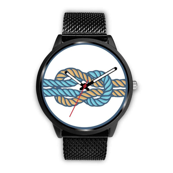 Hercules Knot Love Knot Greek Wiccan Symbol Custom-Designed Wrist Watch - Mens 40Mm / Black Metal Mesh - Black Watch