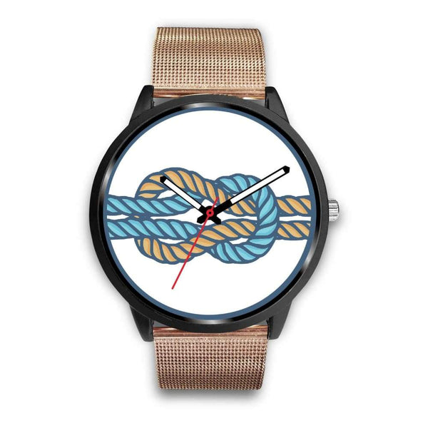 Hercules Knot Love Knot Greek Wiccan Symbol Custom-Designed Wrist Watch - Mens 40Mm / Rose Gold Metal Mesh - Black Watch