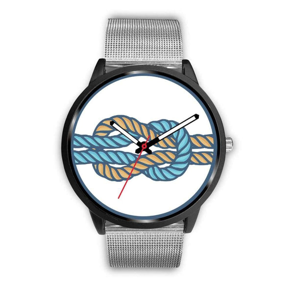 Hercules Knot Love Knot Greek Wiccan Symbol Custom-Designed Wrist Watch - Mens 40Mm / Silver Metal Mesh - Black Watch
