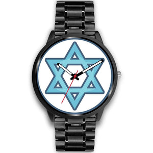 Hexagram Wiccan Pagan Spiritual Symbol Custom-Designed Wrist Watch - Mens 40Mm / Black Metal Link - Black Watch