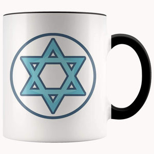 Hexagram Wiccan Spiritual Pagan Symbol 11Oz. Ceramic White Mug - Black - Drinkware