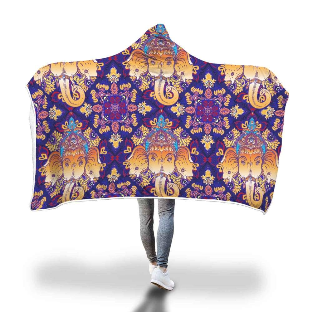 Hindu Buddhist Ganesha Spiritual Head Hooded Snuggle Meditation Blanket. - Hooded Blanket