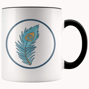 Hindu Peacock Feather Spiritual Symbol 11Oz. Ceramic White Mug - Black - Drinkware