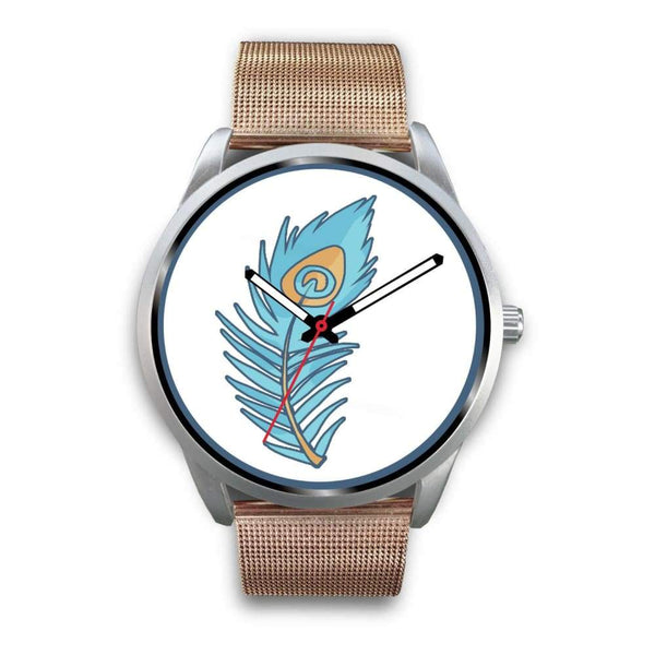 Hindu Peacock Feather Spiritual Symbol Custom-Designed Wrist Watch - Mens 40Mm / Rose Gold Metal Mesh - Silver Watch