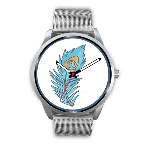 Hindu Peacock Feather Spiritual Symbol Custom-Designed Wrist Watch - Mens 40Mm / Silver Metal Mesh - Silver Watch