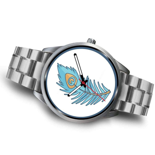 Hindu Peacock Feather Spiritual Symbol Custom-Designed Wrist Watch - Silver Watch