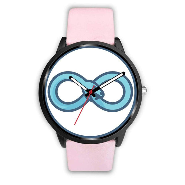 Infinity Snake Ouroboros Greek Symbol Custom-Designed Wrist Watch - Mens 40Mm / Pink Leather - Black Watch