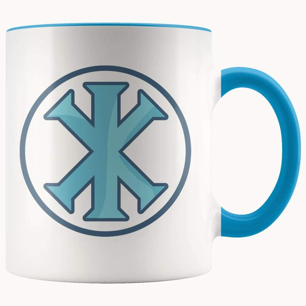 Ix Monogram Christian Symbol 11Oz. Ceramic White Mug - Blue - Drinkware
