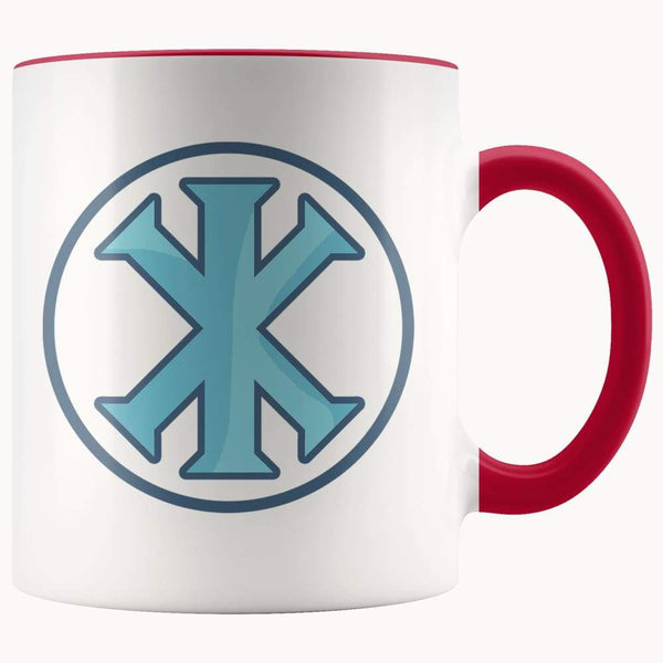 Ix Monogram Christian Symbol 11Oz. Ceramic White Mug - Red - Drinkware