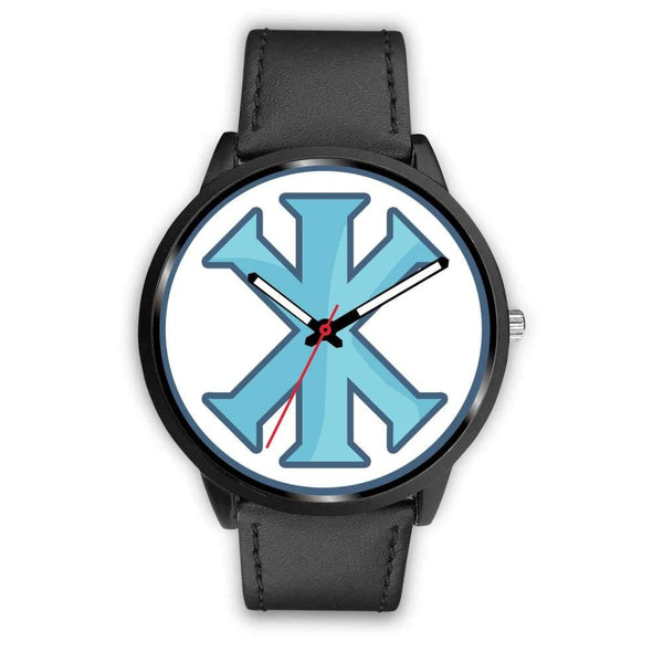Ix Monogram Christian Symbol Custom-Designed Wrist Watch - Mens 40Mm / Black Leather - Black Watch