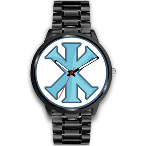 Ix Monogram Christian Symbol Custom-Designed Wrist Watch - Mens 40Mm / Black Metal Link - Black Watch