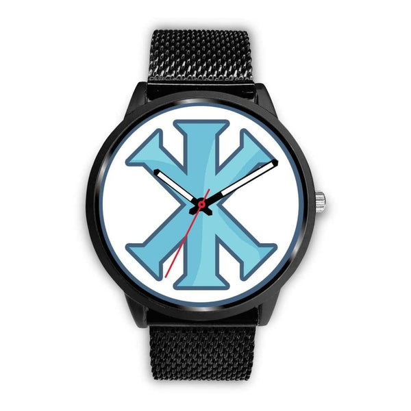 Ix Monogram Christian Symbol Custom-Designed Wrist Watch - Mens 40Mm / Black Metal Mesh - Black Watch