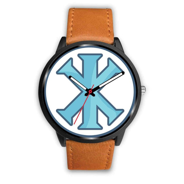 Ix Monogram Christian Symbol Custom-Designed Wrist Watch - Mens 40Mm / Brown Leather - Black Watch