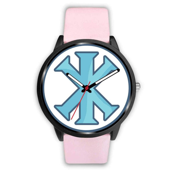 Ix Monogram Christian Symbol Custom-Designed Wrist Watch - Mens 40Mm / Pink Leather - Black Watch