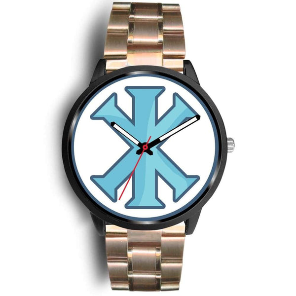 Ix Monogram Christian Symbol Custom-Designed Wrist Watch - Mens 40Mm / Rose Gold Metal Link - Black Watch