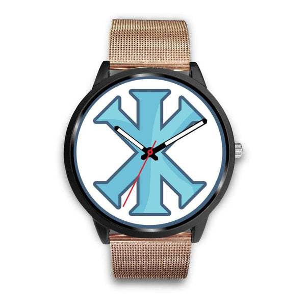 Ix Monogram Christian Symbol Custom-Designed Wrist Watch - Mens 40Mm / Rose Gold Metal Mesh - Black Watch