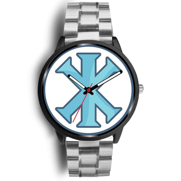 Ix Monogram Christian Symbol Custom-Designed Wrist Watch - Mens 40Mm / Silver Metal Link - Black Watch