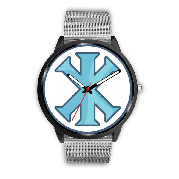 Ix Monogram Christian Symbol Custom-Designed Wrist Watch - Mens 40Mm / Silver Metal Mesh - Black Watch