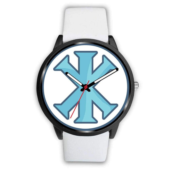 Ix Monogram Christian Symbol Custom-Designed Wrist Watch - Mens 40Mm / White Leather - Black Watch