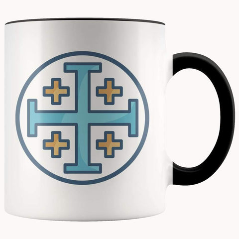 Jerusalem Cross Christian Symbol 11Oz. Ceramic White Mug - Black - Drinkware