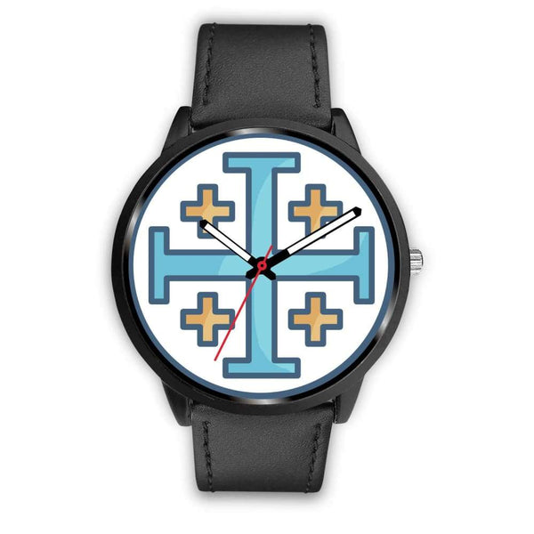 Jerusalem Cross Christian Symbol Custom-Designed Wrist Watch - Mens 40Mm / Black Leather - Black Watch
