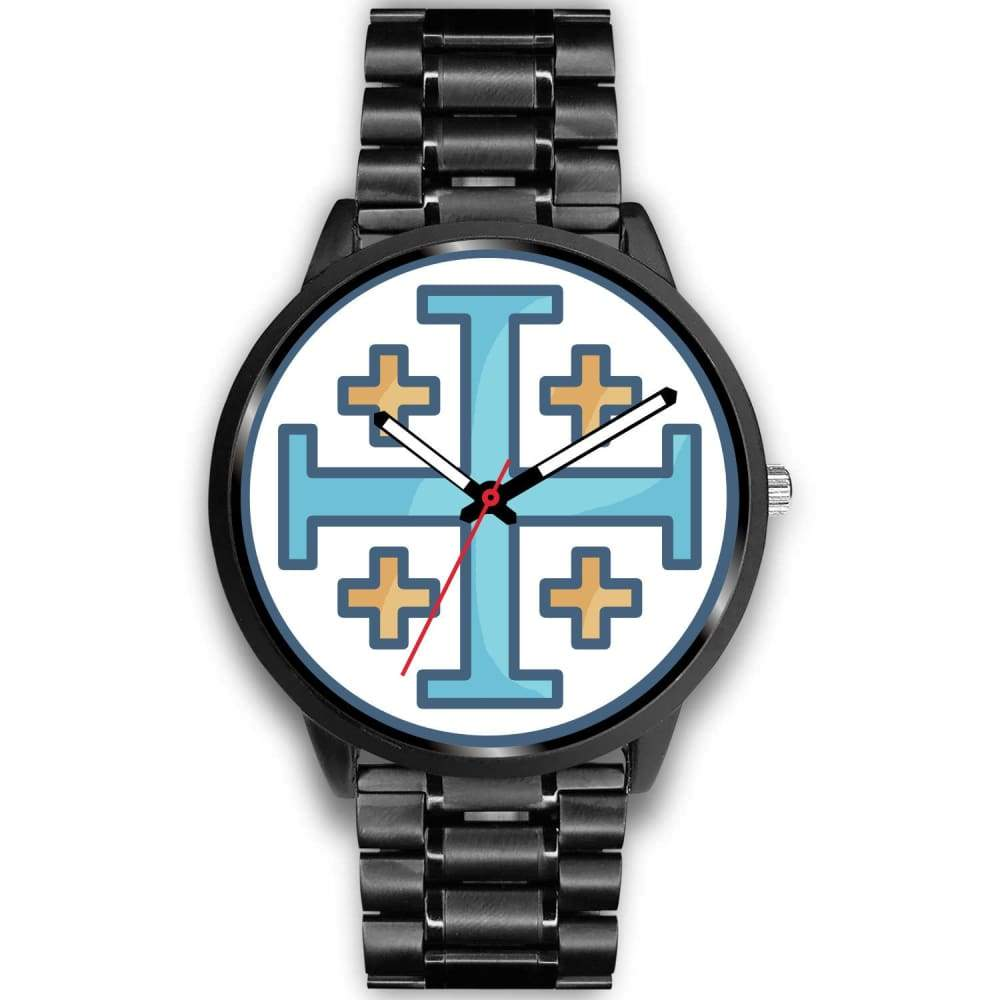 Jerusalem Cross Christian Symbol Custom-Designed Wrist Watch - Mens 40Mm / Black Metal Link - Black Watch