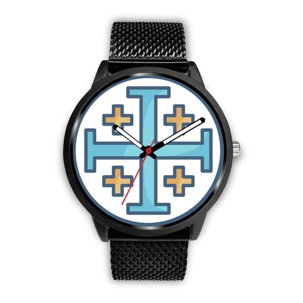 Jerusalem Cross Christian Symbol Custom-Designed Wrist Watch - Mens 40Mm / Black Metal Mesh - Black Watch