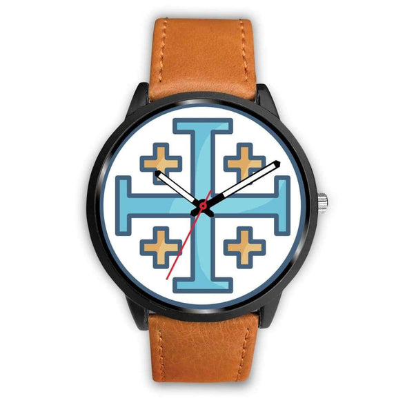 Jerusalem Cross Christian Symbol Custom-Designed Wrist Watch - Mens 40Mm / Brown Leather - Black Watch