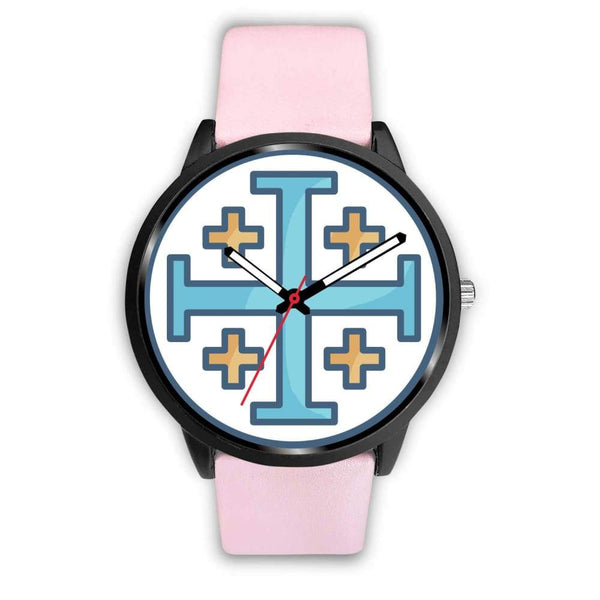 Jerusalem Cross Christian Symbol Custom-Designed Wrist Watch - Mens 40Mm / Pink Leather - Black Watch