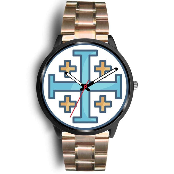 Jerusalem Cross Christian Symbol Custom-Designed Wrist Watch - Mens 40Mm / Rose Gold Metal Link - Black Watch