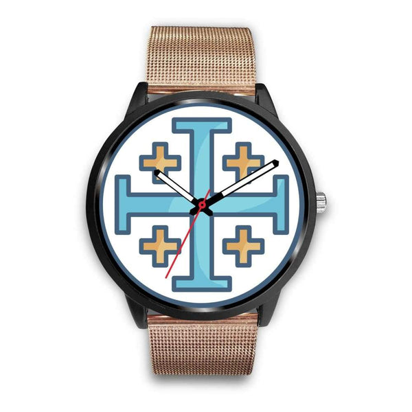 Jerusalem Cross Christian Symbol Custom-Designed Wrist Watch - Mens 40Mm / Rose Gold Metal Mesh - Black Watch