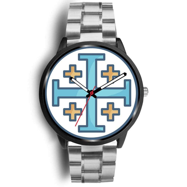 Jerusalem Cross Christian Symbol Custom-Designed Wrist Watch - Mens 40Mm / Silver Metal Link - Black Watch