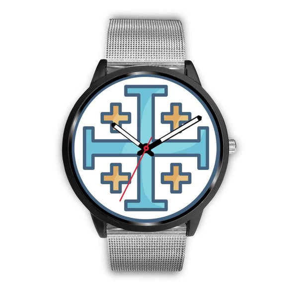 Jerusalem Cross Christian Symbol Custom-Designed Wrist Watch - Mens 40Mm / Silver Metal Mesh - Black Watch